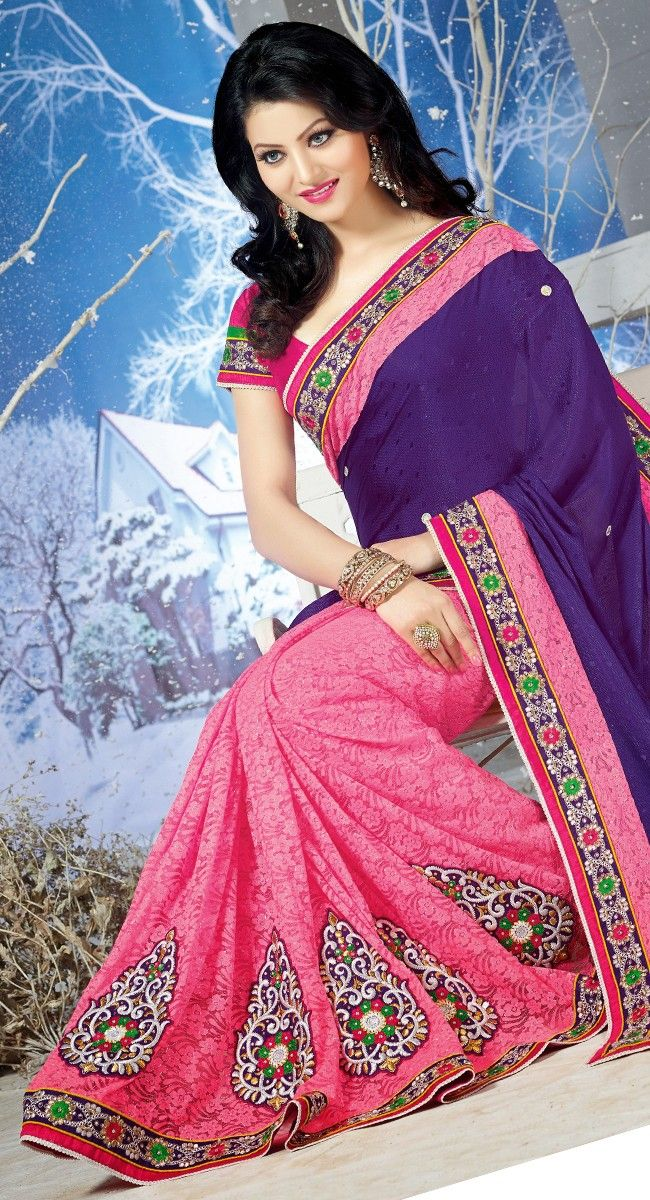 Pink and Purple color Half And Half Saree-Georgette Embroidered #Saree