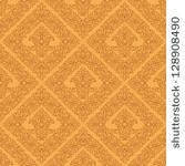 Seamless  damask wallpaper of beige color. - stock vector