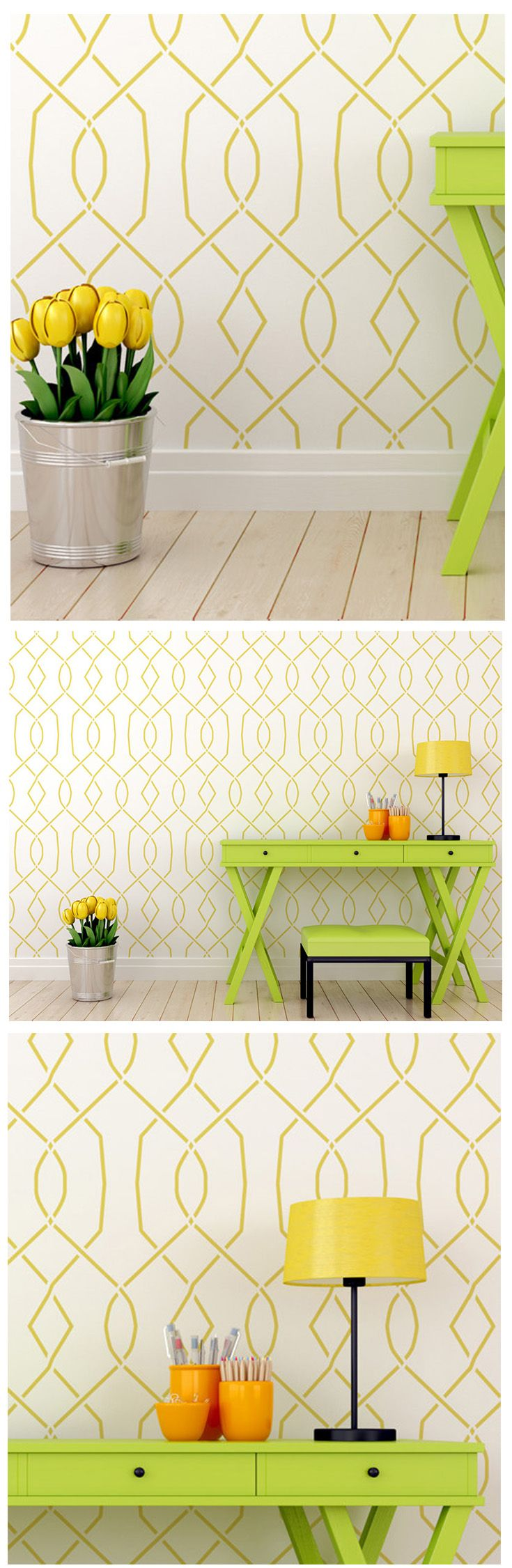 94 best wall stencils images on pinterest wall stenciling trellis wall stencil for a change of your wall look transform your wall into a amipublicfo Image collections