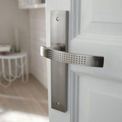 Poignées de porte Louna  sans trou en zinc nickelé, entraxe 165mm