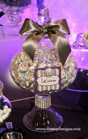candy buffet, candy bar, kisses, purple