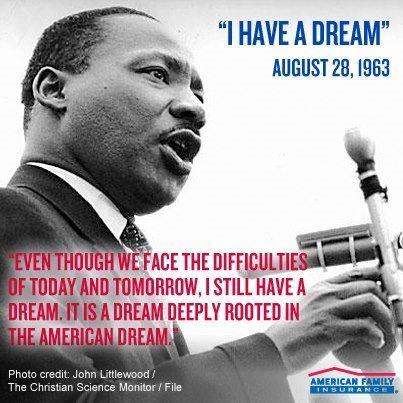 """We remember Martin Luther King Jr.'s epic """"I Have a Dream"""" speech, given 49 years ago today. What dreams #inspire you today?   facebook.com/amfam: Family Contests, 49 Years, Ago Today, Martin Luther King, American Dreamers, Dreams Inspire, January Winter S Chill"""