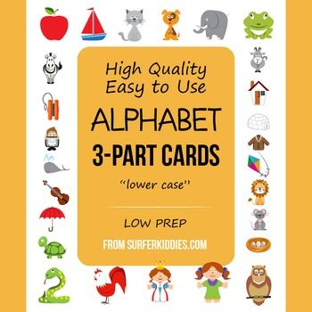 Montessori - English Alphabet 3-Part Cards. This package includes a full set of cards for lower case letters only. The example cards have the illustration, letter and word, while the prompt card has only the illustration and letter and the word card only the word.See thumbnail images for examples.Full instructions included for easy preparation.SUGGESTIONS ON HOW  TO USE:1.Introduce the example cards to the student to allow them to acquaint themselves with the illustration, letter and word.2.