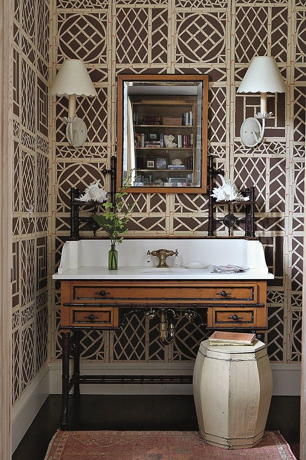 1534 best british colonial decor images on pinterest - Powder room wallpaper ideas ...
