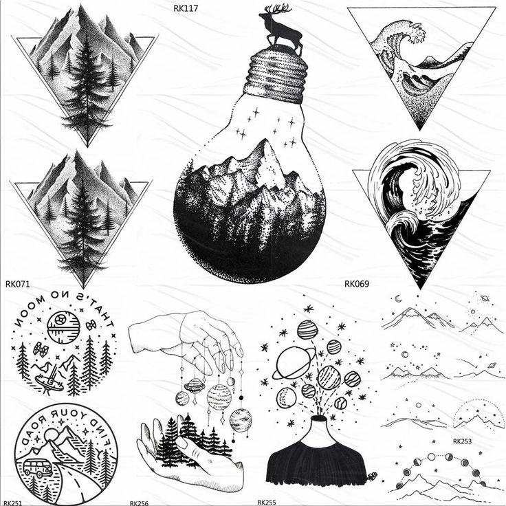 OMMGO Bulb Glass Mountain Pine Tree Temporary Tattoos