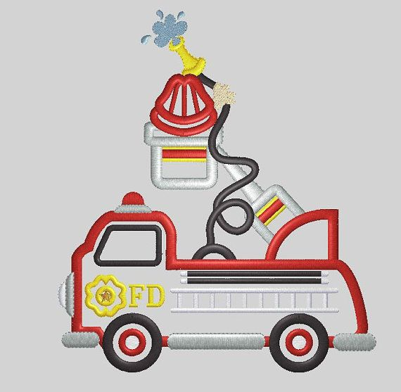 Firetruck Applique Embroidery Design by PoshLittleThings on Etsy, $5.00