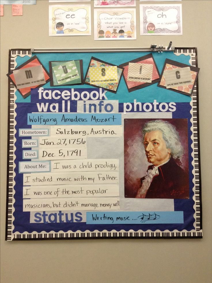 My bulletin board for the year: MUSIC rules from Rhythm & Glues and a Facebook profile for Composer of the Month. All the strips are white board erasable so each month I can just change the text and composer picture!