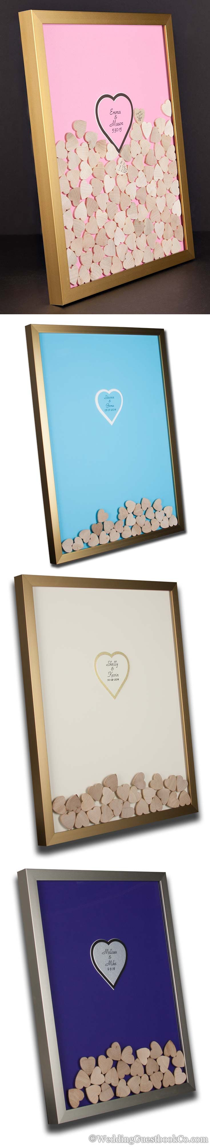 Wood heart wedding guest book shadowbox frames. Personalized inscription, frame style, frame color, center color, shapes and background. By WeddingGuestbookCo.com