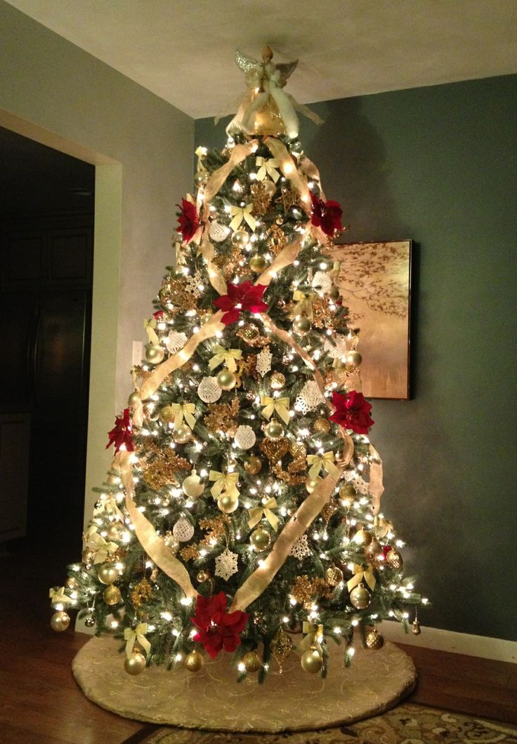 Ivory Gold And Red Christmas Tree 2013 Christmas