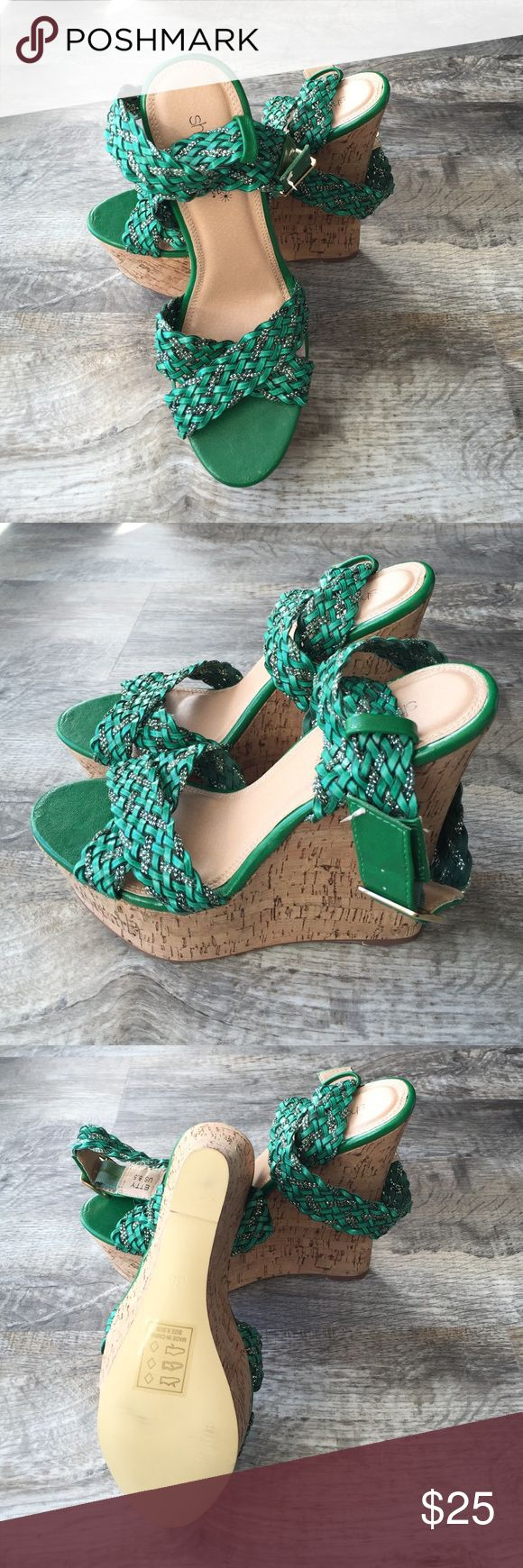 💋sale Shoe Dazzle wedge heels shoes sandals new Brand new shoe dazzle heels wedge shoes green and silver metallic . These are so awesome . They have a ankle wrap strap Shoe Dazzle Shoes