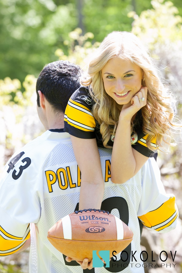 Football engagement... But w/ the wedding date on the football