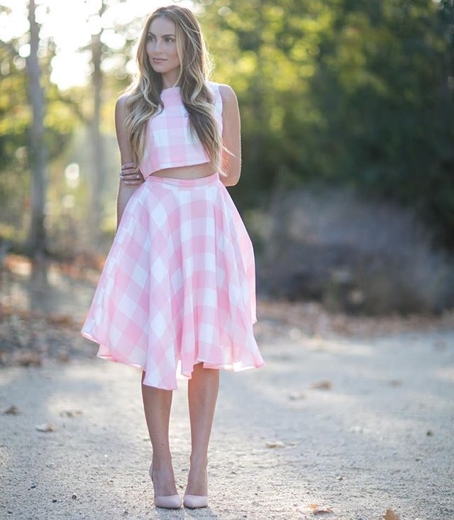 Pink checkered crop top and skirt set. Summer picnic outfit!