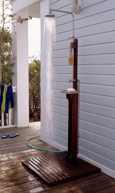 outdoor shower kits. plug in water hose and it's a go!... also has a hot water hook-up.