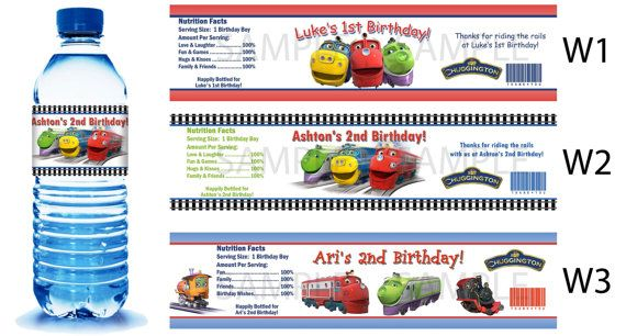 Chuggington Water Bottle Labels  PRINTED FOR YOU by PartyDesigns4U