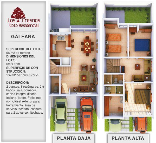 planos de casas de dos pisos 6 x 12