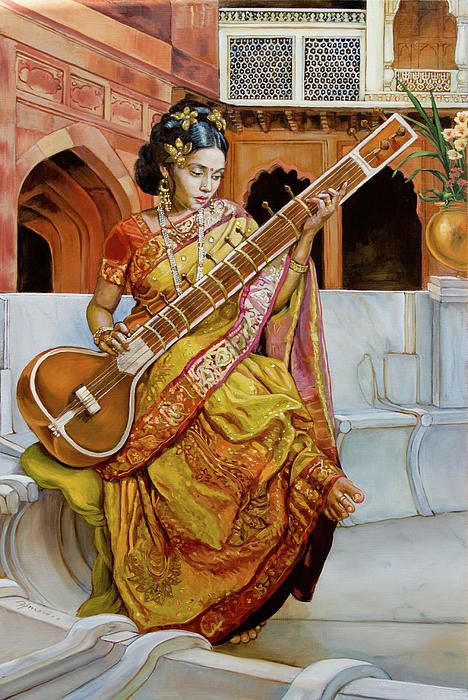 The girl with the sitar, oil painting by Dominique Amendola  This is an oil painting on canvas. This piece was commissioned from me by a gallery in India. A young girl is sitting in a palace courtyard in Jayapura. This style is very kitsch and not exactly in the line of my usual line of work. This was however a very beloved style in the 19th century.