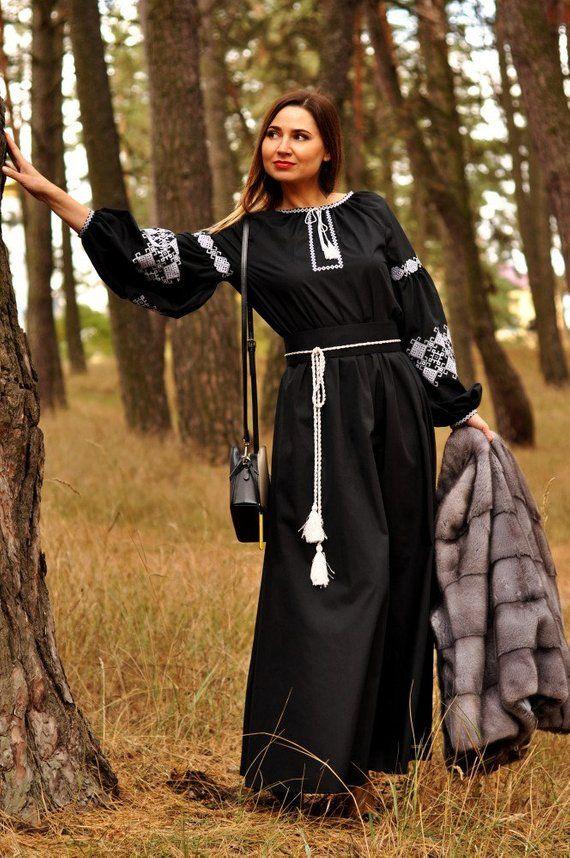 a8d01eec0e1 Ukrainian linen black dress with geometric embroidery - plus size dress -  mexican dresses - vyshyvanka dress - abaya in 2018