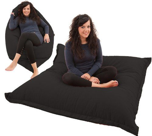 RAVIOLI GIANT - BLACK Bean Bag Chair Indoor / Outdoor Beanbag Floor Cushion