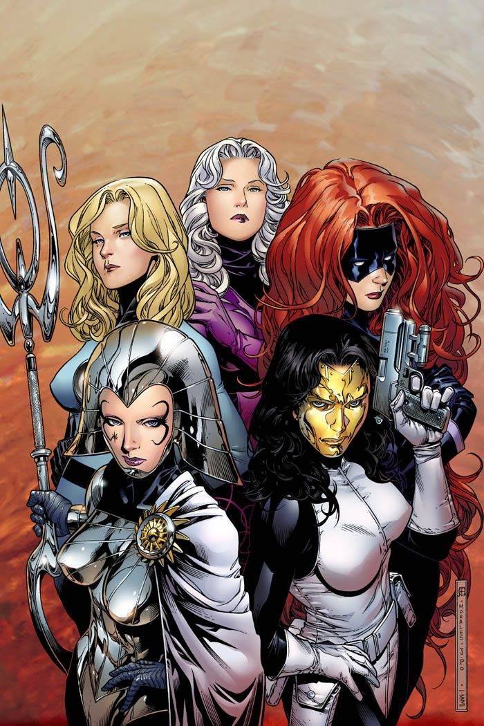 Invisible Woman, Clea, Medusa, Madame Masque, and Lilandra by Jim Cheung