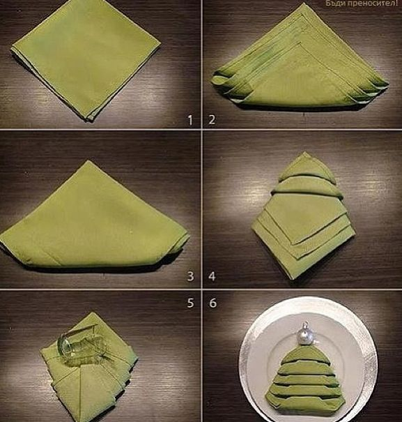 Christmas Tree Napkin Folding DIY  I fold the napkin like this when I leave a restaurant during the holidays ;)