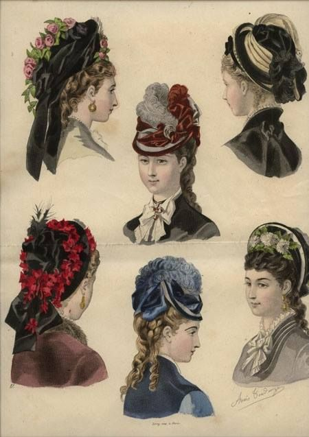 1875 ladies hats and trims- Aww yeah, Look at these hats