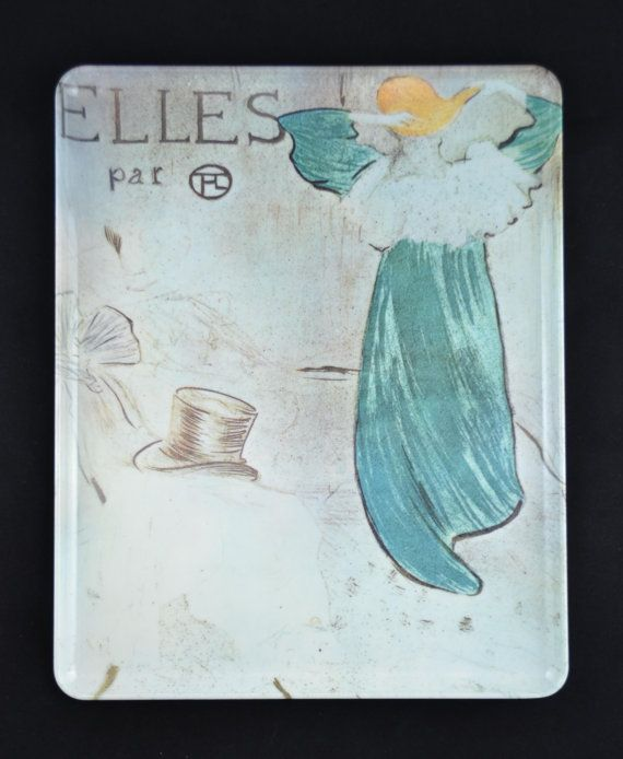 decorative mebel melamine plastic serving tray with vintage french scene elles par made in italy