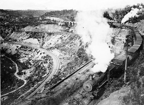 The Great Zig Zag, Lithgow NSW A Baldwin J483 class on Top Road with a push up engine at the rear, c1890.                                          A Baldwin J483 class on Top Road with a push up engine at the r...