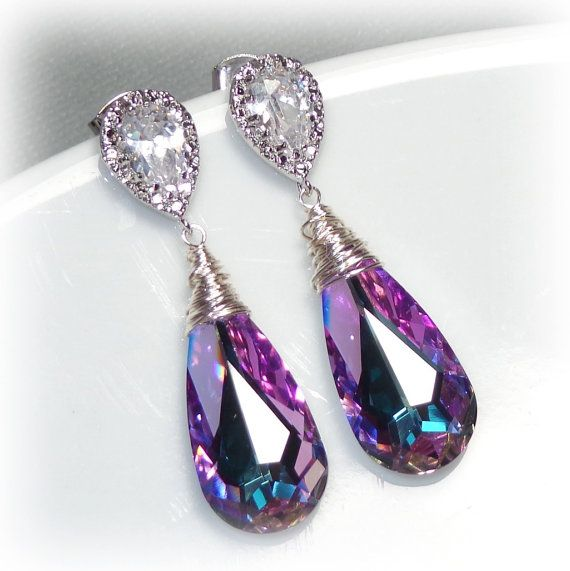 Swarovski Crystallized Teardrop Earrings, Vitrail Light Crystal Earrings, Bridesmaid Earrings, Bridal Jewelry, Peacock Earrings, Purple Blu on Etsy, $33.00