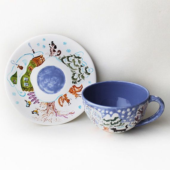 Winter ceramic Tea Cup and Saucer Hand by Natvasclayandpaper