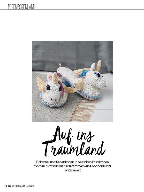 Häkelmagazin Simply Häkeln Einhörner Hausschuhe 0317
