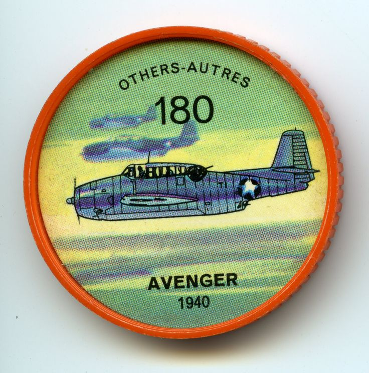 Jell-O Coin 180 - Avenger (1940) - Scourge of the Imperial Japanese Navy during the Second World War was a deceptively bulky U.S. torpedo bom ber known as the Grumman Avenger. After the war, large numbers were purchased by the Royal Canadian Navy as sub-hunters. Some have been converted to civilian use in this country, as forest spray planes. Specifications: Wingspan 54 feet. Length 40 feet. Weight 15,500. Speed 220 mph. Power from one Wright engine of 1,750 hp