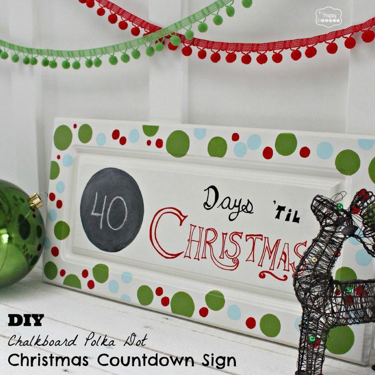 DIY Chalkboard Polka Dot Christmas Countdown Sign side at The Happy Housie #Chalkboard Paint #Christmas #DIY Sign