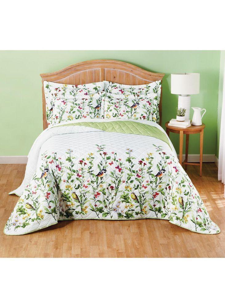Fine Spring Song Birds Flowers Floral Bedspread Quilt Shams Set Home Interior And Landscaping Ologienasavecom
