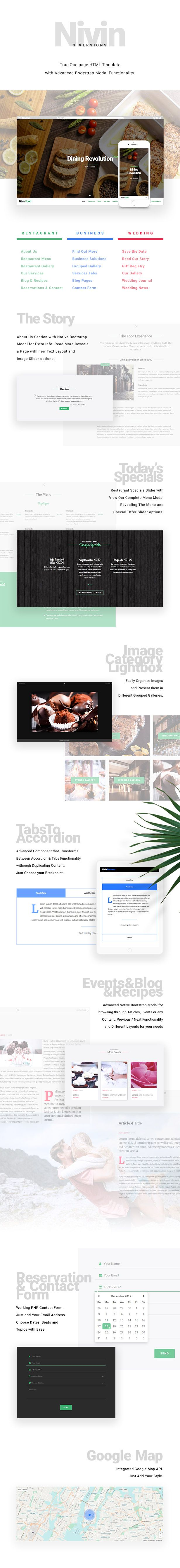 Nivin - Restaurant Website Template  Suited for Restaurants, Foods, Caffe and Bar needs. Restaurant Template is equipped with Today's Specials Slider, Food Menu Modal with Drinks and Food Menu. Working Contact form with date, time and seats selection. It comes in light and dark versions. Page is divided in Sections: About Us / Restaurant / Menu / Restaurant Gallery / Our Services / Blog & Recipes / Reservations&Contact