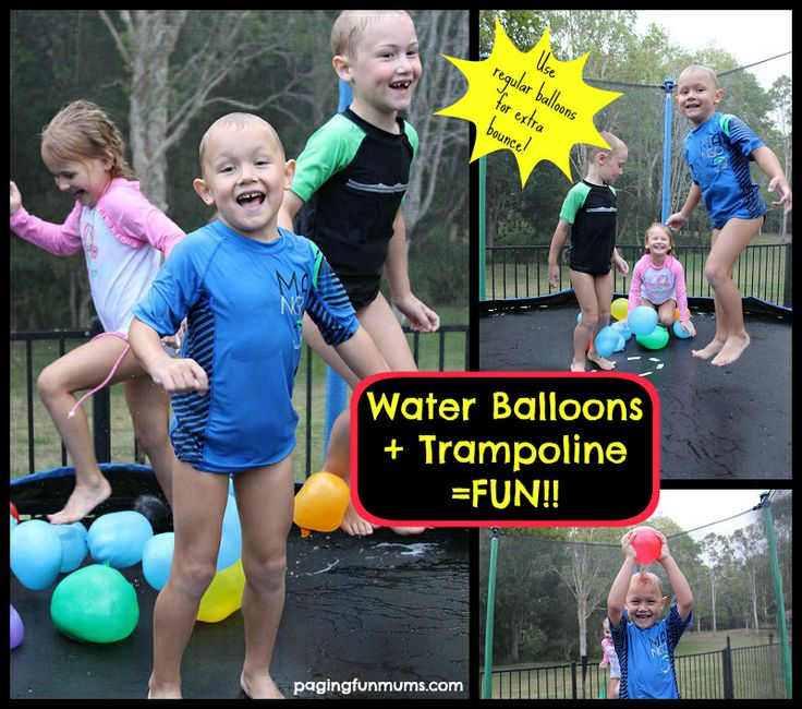 Water Balloons + Trampoline = FUN!  Awesome Summer Backyard Activity!