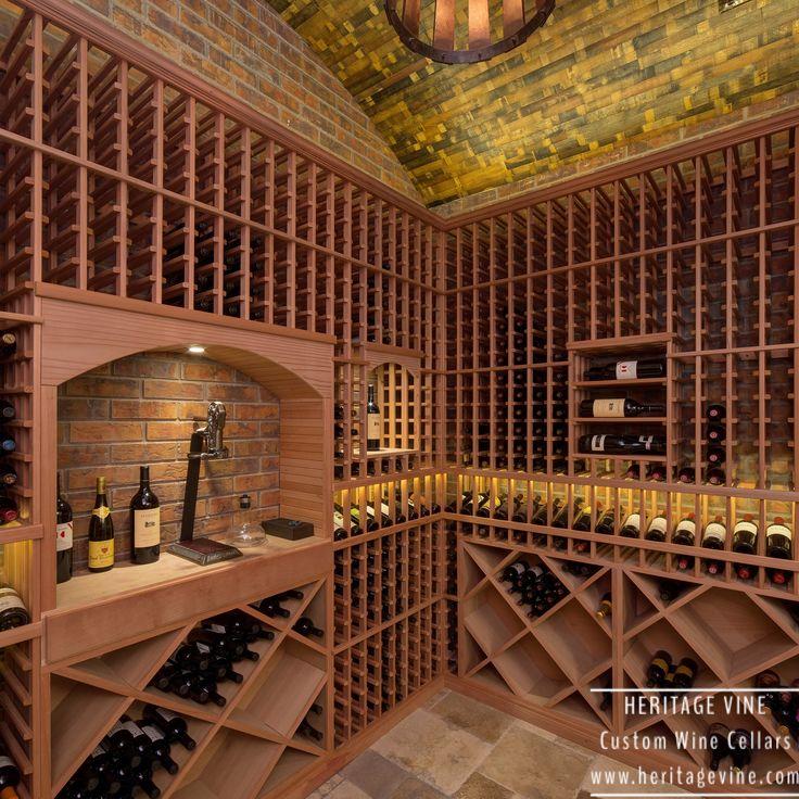 Traditional wine room in walnut. Wine cellar designed and installed by Heritage Vine Custom Wine Cellars.