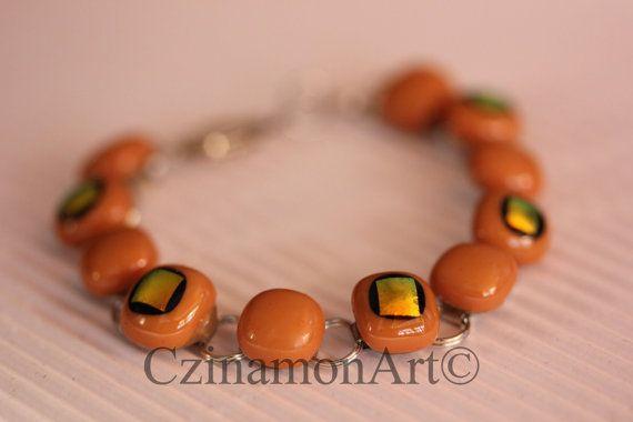 Orange  Yellow Dichroic Fused Glass Bracelet Yellow by CzinamonArt, €25.00