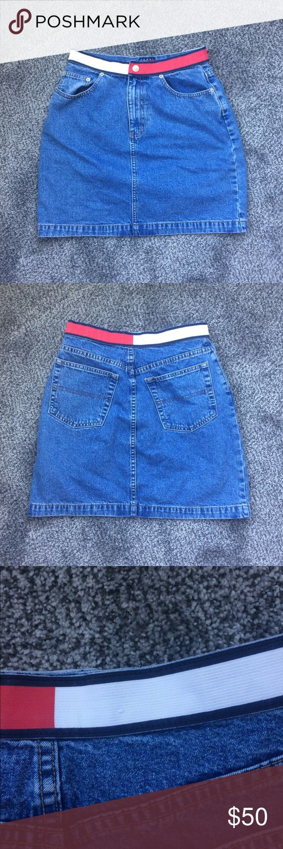 Vintage 90's Tommy Hilfiger Denim Skirt Some loose threads as pictured, but in great vintage condition. Labeled a size 8 but fits more like a 6. 28 inch waist. 19 inch length. Will accept a reasonable offer! Tommy Hilfiger Skirts Mini