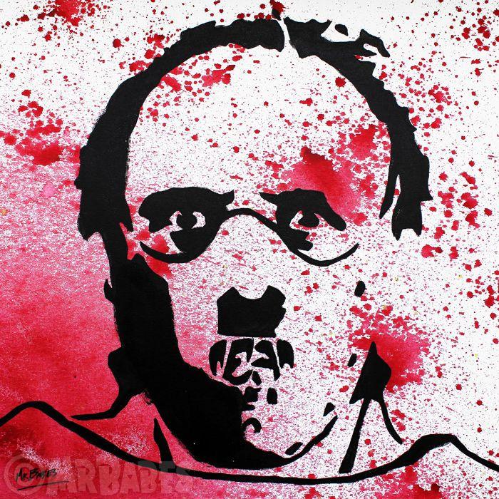 """MIJNHEER. BABES - Silence Of The Lambs: Dr. Hannibal Lecter (Anthony Hopkins)  Grootte: 30 """"x 30"""" (77x77cm)Medium: Acryl Spray & huis verf op doekEditie: origineleHand ondertekend linksonderOrigineel handgeschilderde & een van een soortCertificaat van echtheid opgenomenMIJNHEER. BABES is een Hawaiiaanse pop kunstenaar wiens werk heeft tentoongesteld overal uit New York naar Tokyo. Voordat hij werd bekend als een professionele kunstenaar heer. BABES gevonden succes als een kunst makelaar…"""