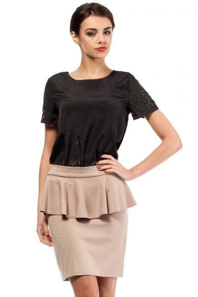 Ladies beige skirt with decorative ruffles