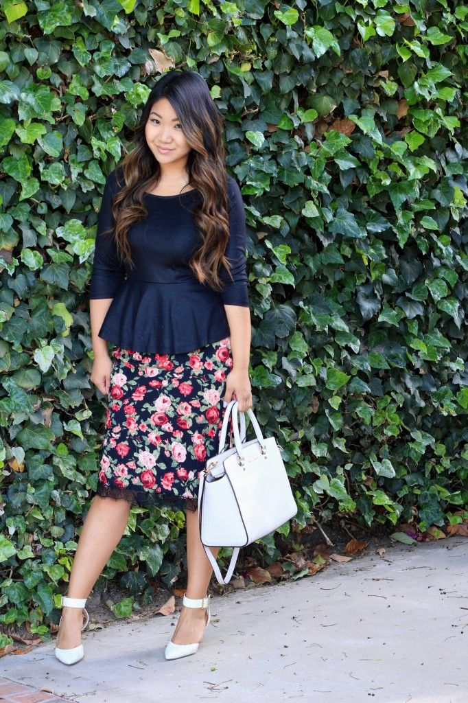 Black peplum & floral skirt with white heels. Get the look at Outlets at Anthem! www.outletsanthem.com/directory