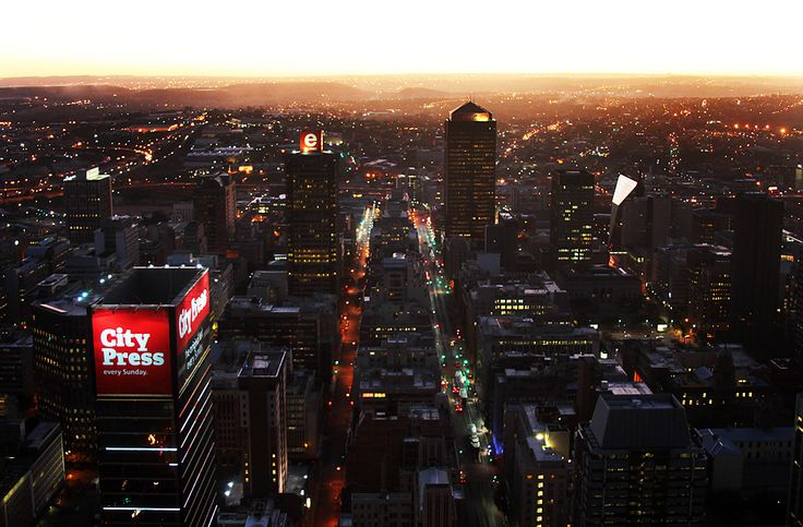The Sun setting over Johannesburg