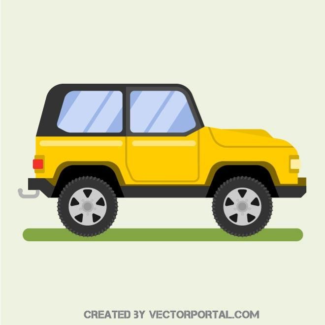 Yellow SUV vehicle vector image