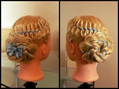 Коса из четырёх прядей с лентой и цветок из косы. Видео-урок. - YouTube