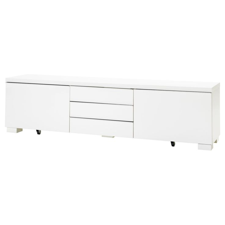 IKEA BEST BURS TV Bench High Gloss White Cm There Is Plenty Of Space For Games And Accessories In The Two Spacious Drawers
