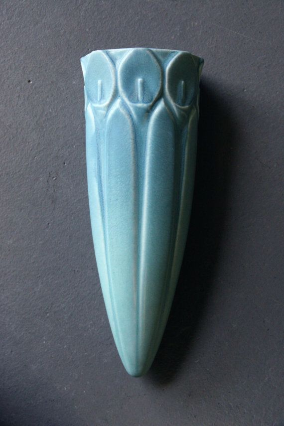 Arts & Crafts Era Celadon Blue/Green Rookwood Pottery Calla Lily Wall Pocket - Number 1397 - Incredible Condition