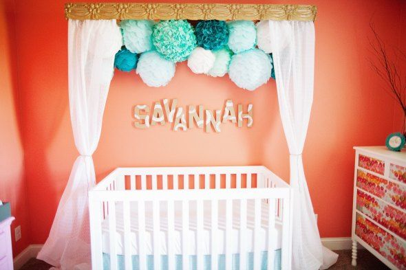 7 baby girl nursery ideas nursery pom poms nursery and for Children s bedroom ideas