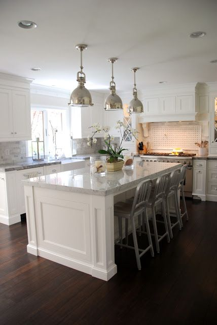 The Granite Gurus: Carrara Marble & Super White Quartzite Kitchen from MGS by Design