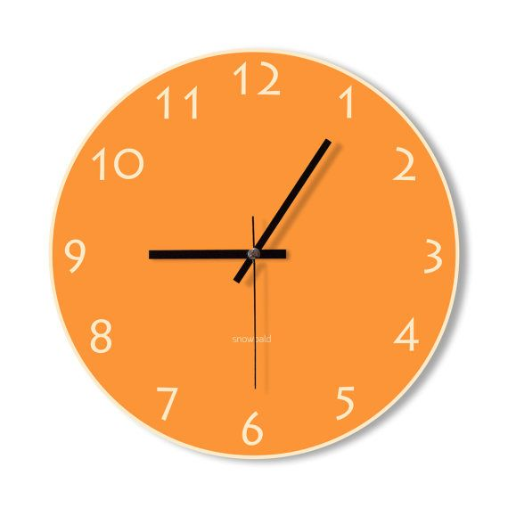 Wall Clock orange clock home decoration wall art by Snowbald