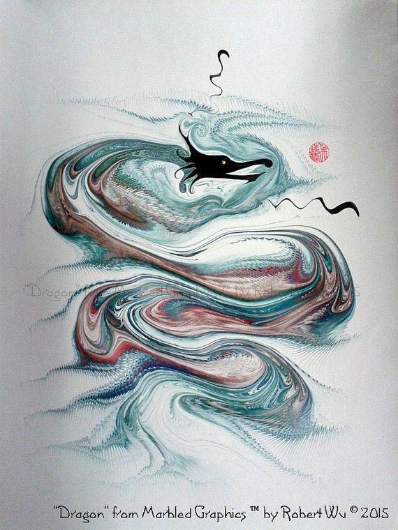 Chinese Dragon Original Marbling Art Hand by StudioRobertWu